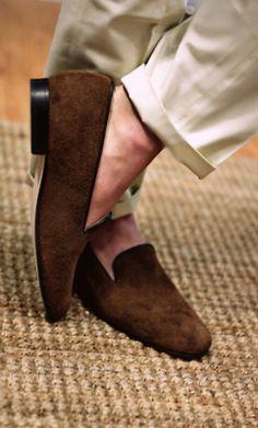 Smooth brown suede