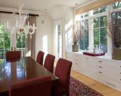 Furniture, Traditional Dining Room With Wood Dining Table And Red Chair Design Also White Minimalist Buffet Furniture Ideas: Dining Room Sideboards To Make Your Dining Room More Appealing