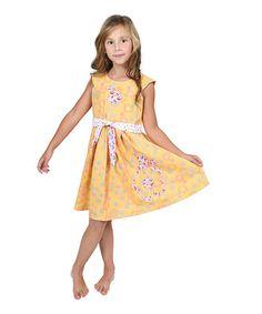6563a84e898 Jelly the Pug Yellow Paris Floral Alex Cap-Sleeve Dress - Toddler   Girls