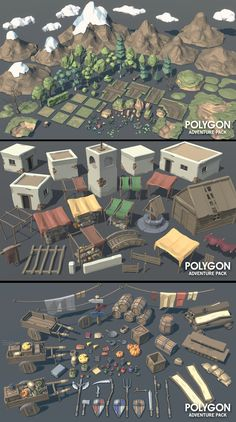 Game design 101682904069410439 - POLYGON – Adventure Pack A low poly asset pack of characters, buildings, props, items and environment assets to create a fantasy based polygonal style game. Game Environment, Environment Concept Art, Environment Design, Game Design, Game Level Design, Modelos Low Poly, Blender 3d, Minecraft Banner Designs, Low Poly Games
