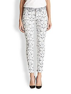 7 For All Mankind - Tailor Floral Jacquard Skinny Ankle Jeans