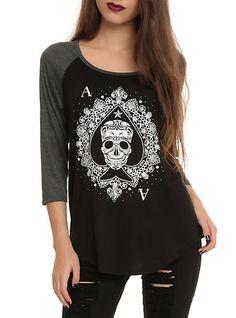 Ace Skull raglan top ~ Hot Topic