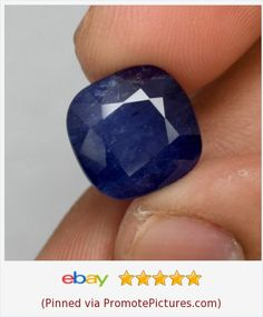 11.75ct 12.5x12.3mm Cushion Natural Blue Sapphire (Heated Glass Filled) | eBay…