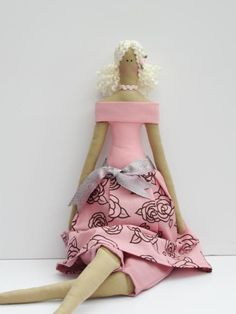 Fabric doll handmade art doll rose cloth doll by HappyDollsByLesya, $39.00