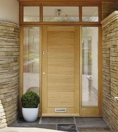 Give the entrance to your home an undoubted modern feel by fitting our Linear Oak front door. External Hardwood Doors, House With Porch, Contemporary Front Doors, House Doors, Porch Design, Hardwood Doors, Oak Doors, Wood Doors Interior, Oak Front Door