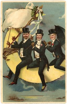 This is a quirky Men on Moon Image! This funny Vintage Postcard Image shows 3 well dressed Men, all in Top Hats and Tails, perched on top of a Crescent Shaped Moon! Graphics Fairy, Vintage Ephemera, Vintage Postcards, Vintage Moon, Moon Images, Moon Photography, Man On The Moon, Vintage Humor, Funny Vintage