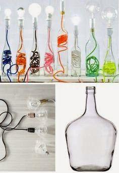 Lampen selber machen - 25 inspirierende Bastelideen Lamps themselves make DIY lamps Bottle Art, Bottle Crafts, Bottle Lamps, Glass Bottles, Diy Luz, Fun Crafts, Diy And Crafts, Diy Luminaire, Diys