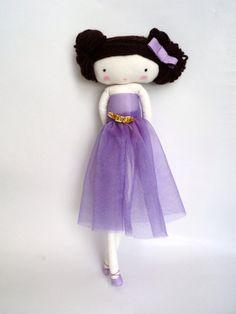 Ballerina rag doll doll plush toy cloth art by lassandaliasdeana