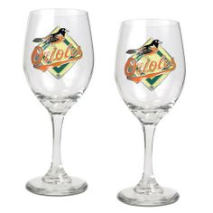 MLB Baltimore Orioles 14-Ounce Wine Glass (Set of Two) by Great American Products. $29.99. The perfect compliment to your Bar or Game Room décor.. Handcrafted  high-quality metal logo. Decorated with hand-crafted Official Team Logos.. Classically designed pair of 15oz Glass Mugs.
