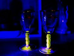 Uranium glass aperitif glasses, Vaseline glass port glasses, Pair of vintage sherry glasses, Vintage bar man cave, Antique Vaseline glass  with <3 from JDzigner www.jdzigner.com