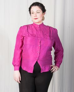 Electric Pink Silk Grandad Shirt