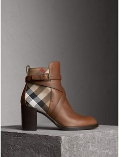 Burberry House Check and Leather Ankle Boots || afflink