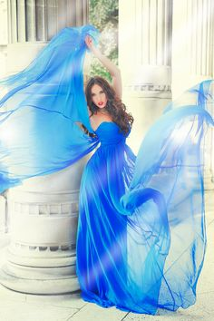 The blue material in the wind... Like America's Next Top Model