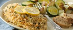 Cooking for two? Try this easy oven meal of crispy fish, coated with Progresso® panko bread crumbs, and seasoned veggies.