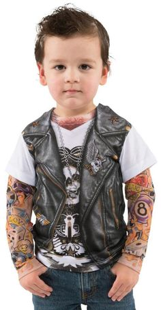 Toddler Boy Faux Real Tees Motorcycle Biker T-Shirt Costume Tattoo Sleeves 2T 3T #FauxReal #CompleteCostume
