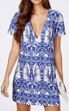 Oversized V Neck Shift Dress White Floral