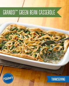 A fun twist on a Thanksgiving family favorite! Grands! Green Bean Casserole is so easy to make it only requires 4 ingredients. It's loaded high with green beans, creamy mushroom soup, french-fried onions and served up on a flaky biscuit crust. All your guests will be coming back for seconds! Plus it makes a great after Thanksgiving lunch.