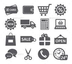 Shopping Icons (JPG Image, Vector EPS, CS4, bag, boutique, box, calculator, card, cart, clock, clothes, commerce, commercial, coupon, credit, delivery, discount, e-shop, e-shopping, handbag, hour, icon, logistics, open, price, sale, scissor, shop, shopping, sign, signboard, sticker)