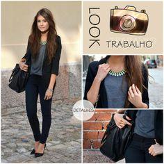 calça preta blusa cinza blazer preto scarpin preto bolsa preta colar