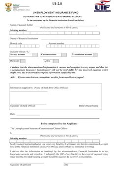 Form Ui-2.8 - Authorisation To Pay Benefits Into Banking Account - Department Of Labour, Republic Of South Africa printable pdf download Office Names, Legal Forms, Financial Institutions, Block Lettering, Bank Account, Plumbing, South Africa, Accounting, Pdf