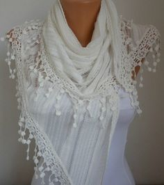 Lace Scarf   scarf shawl    Free scarf  White  fatwoman by anils, $19.90