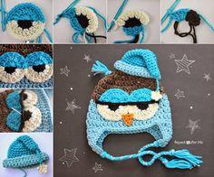 Crochet Drowsy Owl Hat