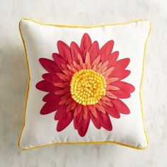 What has indoor craftsmanship, outdoor durability and a vibrant summer vibe? Our decorative pillow. It has an appliqued and embroidered flower that blooms brightly, and the UV-resistant fabric helps keep the blossom vivid. Living Room Cushions, Flea Market Style, Flower Pillow, Decks And Porches, Pier 1 Imports, Outdoor Throw Pillows, Porch Decorating, Embroidered Flowers, Lumbar Pillow