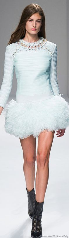 Balmain   S/S 2014 (BB) baby blue mini dress with feather hem