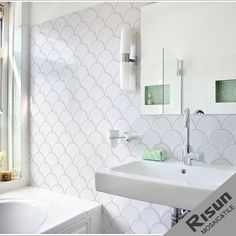 Decor, Tub Surround, Tiles, Porcelain Tile, Home Decor, Mosaic Tiles, Mosaic, Sink, Fish Scales