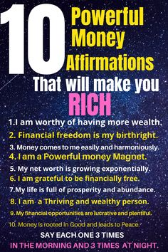 Affirmations that will make you Rich Secret Method.>>>> Not making enough money? Start saying these 16 powerful money affirmations regularly and get the financial freedom you deserve. Click the pin for an easy affirmation how-to guide. Affirmations For Kids, Money Affirmations, Law Of Attraction Money, Attract Money, Law Of Attraction Affirmations, Daily Motivation, Finance Tips, Abundance, Wealth