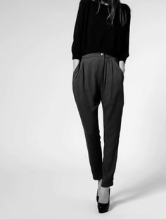 Slouchy pants and crop top.