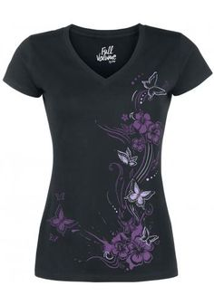 Butterflies V-Neck - T-Shirt by Full Volume by EMP