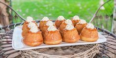 Sink your teeth into this recipe for Maggie Beer's mouth-watering rum babas. Bake Off Recipes, Beer Recipes, Gourmet Recipes, Great Australian Bake Off, Beet Soup, Thing 1, Sweet Potato Soup, Instant Yeast, Serving Plates