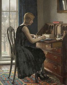 Girl Writing, Oil On Canvas by Harold Knight (1874-1961, United Kingdom)