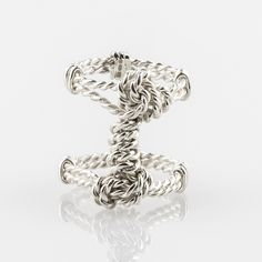 Available in Fairtrade gold, recycled silver, platinum and palladium. Unique gifts made in the East Midlands Rope Jewelry, Double Ring, Bespoke Jewellery, Knots, Unique Gifts, Wraps, Rings, Wrapping, Silver