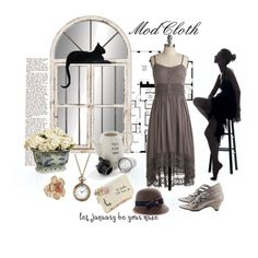 Love the dove gray dress and vintage-style hat.