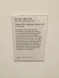 Man Ray sculpture description