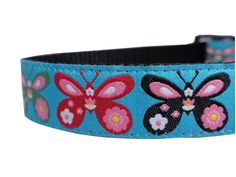 Butterfly Blue Adjustable Dog Collar $14.50 USD