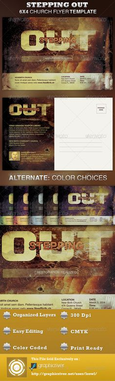 The Stepping Out Church Flyer Template is great for any Church Event. Use it for Gospel Concerts, Pageants, Musical Events and Sermons, etc. The layered Photoshop files are color coded and organized in folders for easy editing. The file also contains 6 – One Click Color options. $6.00