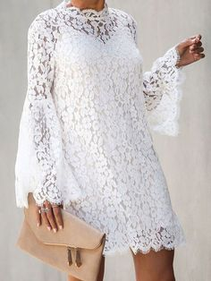 Lace Dresses White Stand Collar Long Sleeves Cut Out Sexy Dresses Lace Dress Styles, African Lace Dresses, Latest African Fashion Dresses, African Print Fashion, Women's Fashion Dresses, Casual Dresses, Sexy Dresses, Fashion Fashion, White Lace Dress Short