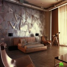 Wall Panel Application Become An Unique Texture : Wonderful Steel Wall Design Idea With Modern And Lavish Bed Also Modern Chair With Table Lamp And Binacular