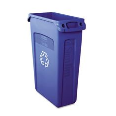 """Rubbermaid Commercial Products:  Slim Jim -  23 Gallon Curbside Recycling Bin - Overall: 30"""" H x 22"""" W x 11"""" D - Great for Recycling"""