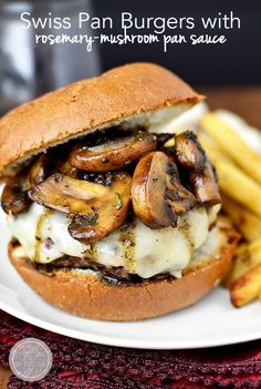 Swiss Pan Burgers with Rosemary-Mushroom Pan Sauce is an easy yet elegant 20 minute meal made in just one skillet. | iowagirleats.com
