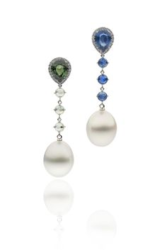 Autore Duo Earrings White Gold with Diamonds Sapphires and South Sea pearls Pearl Earrings, Drop Earrings, South Sea Pearls, South Seas, Classic Style, Sapphire, Diamonds, White Gold, Contemporary