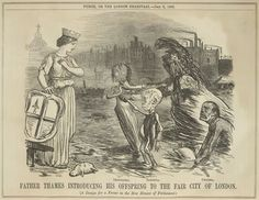 Parliament was worried by the 'Great Stink' of 1858, when the Thames flowed with undiluted sewage, because the smell itself might kill the Members of Parliament in their debating chamber overlooking the river. Image: Father Thames introducing his offspring, 1858