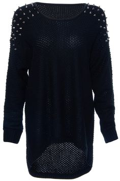 ROMWE | Rivets Embellished Black Knitted Jumper, The Latest Street Fashion