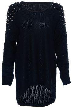 ROMWE | Rivets Embellished Black Knitted Jumper, The Latest Street Fashion