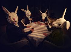 My Family - photo by Cal Redback Animal Masks, Animal Heads, Rabbit Head, Silly Rabbit, Arte Cyberpunk, Bizarre, Funny Bunnies, Dark Art, Alice In Wonderland