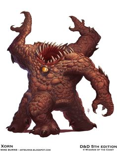 Dungeons and Dragons (D&D) Fifth Edition Monster - Xorn - Bizarre creatures native to the Elemental Plane of Earth, xorn sniff out gemstones and pr. Monster Art, Fantasy Monster, Monster Design, Forgotten Realms, Dungeons And Dragons, Character Art, Character Design, Character Concept, Besta