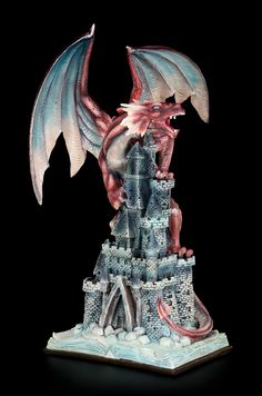 Dragon Figurine on Castle - Conquest of the Reality by Figuren Shop GmbH ✓ Fast Delivery ✓ Buy now cheap at www. Blue Dragon, Dragon Art, Magical Creatures, Fantasy Creatures, Dragon Coloring Page, Fairy Statues, Polymer Clay Dragon, Fantasy Figures, Dragon's Lair